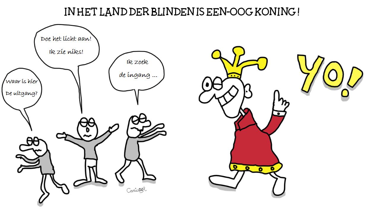 Cartoon-in-het-land-der-blinden-is-een-oog-koning